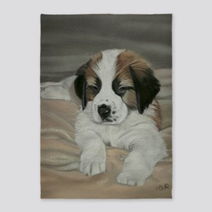 saint bernard puppy 5'x7'Area Rug